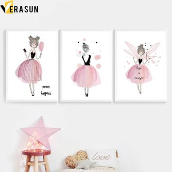 VERASUN Watercolor Little Girl Wall Art Print Canvas Painting Nordic Poster Cartoon Wall Pictures For Baby Girl Room Decoration