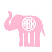 Monogrammed Elephant Decal - Personalized 4in x 3.5in Sticker - Cute Custom Decal for Car