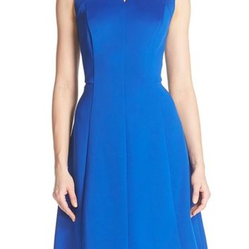 Ellen Tracy Keyhole Front Scuba Fit & Flare Dress (Regular & Petite) | Nordstrom