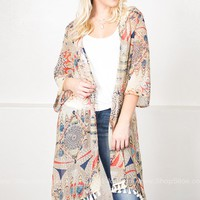 Tribal Feather Boho Kimono