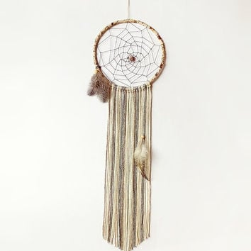 Boho dream catcher, wall hanging, spider web dreamcatcher, brown shades, bedroom decor, beaded, large, long, handmade, unique, home decor