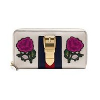 Gucci Sylvie embroidered leather zip around wallet