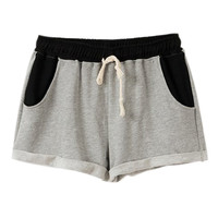 ROMWE Color Block Drawstring Pocketed Shorts