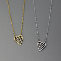 Cut Out Heart Origami Pendant Necklace  -  Available color as listed ( Gold, Silver )