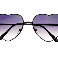 Retro Fashion Black Metal Heart Love Womens Sunglasses W1532
