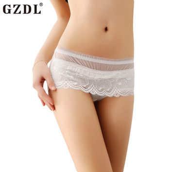 GZDL Sexy Women Lace Floral Mesh Hipster Thongs Underwear Pants G-String Briefs Panties Knickers Calcinha Free Shipping NY176