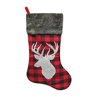 "20.5"" Buffalo Check Plaid Deer Christmas Stocking with Faux Fur Cuff"