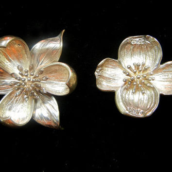 TWO Vintage Tiffany & Co. Dogwood Flower  Brooches Sterling Silver
