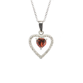 925 Sterling Silver Genuine Diamond .01ct and Garnet Heart Pendant Necklace