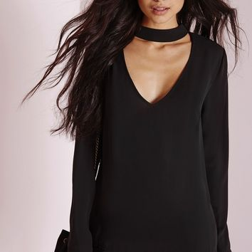 Missguided - High Neck Plunge Cut Out Blouse Black