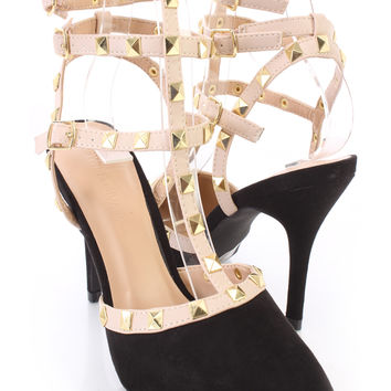 Black Studded Strappy Single Sole Heels Faux Suede