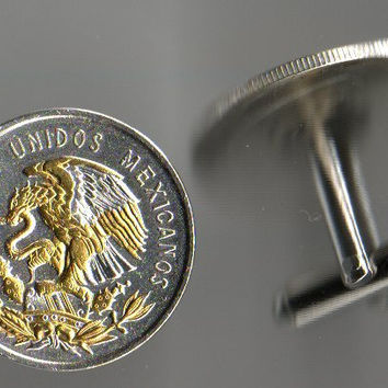 Unique 2-Toned Gold & Silver Mexican Eagle,  Coin Cufflinks