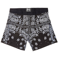 The Bandana Fitted Boxers in Black & Grey