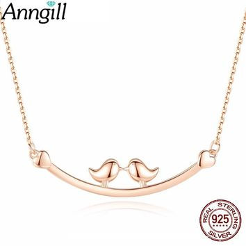 Real Silver 925 Jewelry 2018 Selling Lovely Bird Branch Pendant Necklace Simple Fashion Romantic Gift For Girl Friend Mom Party