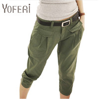 YOFEAI New 2017 Spring Summer Women's Pant Casual Cropped Trousers /Pants &Capris Harem Pants Women Overall Students Pants