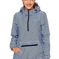 Striped Monogrammed Pullover Rain Jacket