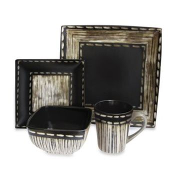 American Atelier Livingston 16-Piece Dinnerware Set in Ivory/Black