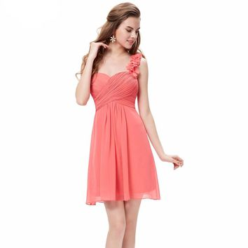2017 New Arrival Winter Flowers Pink One Shoulder Chiffon Padded Short Elegant Cocktail Dress