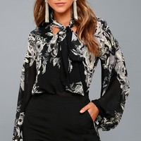 Esperanza Grey and Black Floral Print Long Sleeve Top
