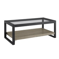 "48"" Urban Blend Coffee Table with Glass Top - Driftwood/Black"