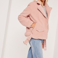 Missguided - Faux Shearling Biker Jacket Pink