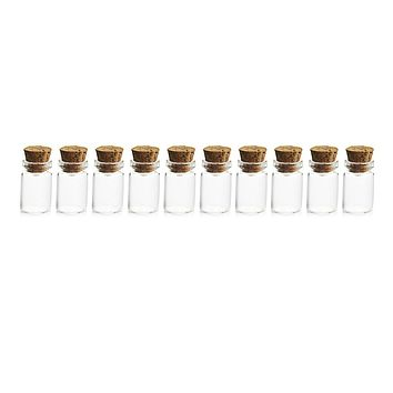 HIPSTEEN 10Pcs 11*22MM 1ML Mini Glass Bottles Empty Sample Jars with Cork Stoppers for DIY Craft Decoration