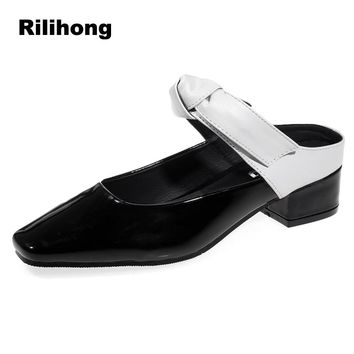 Size35-40 Slingback Women Pumps Shoes Woman Mule Low Heels 2018 Ladies Shoes Black Patent Leather Bowknot