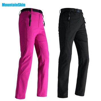Mountainskin Women Winter Fleece Pants Outdoor Waterproof Sport Thick Brand Clothing Hiking Camping Skiing Female Trousers MB008