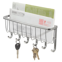 York Wall Mount Storage and Key Rack, Chrome