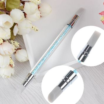 2-Ways Carving Sculpture Painting Brush Pen Silicone Hollow Crystal Handle Manicure Nail Art Tool