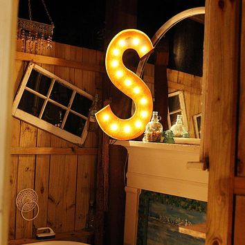 "36"" Letter S Lighted Vintage Marquee Letters (Rustic)"