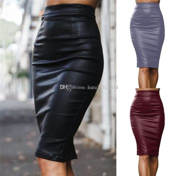 Women PU Leather Long Skirt Solid Color High Waist Slim Hip Pencil Skirts Vintage Bodycon Skirt Sexy Clubwear