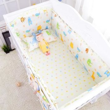 Baby 5 Piece Crib Bedding Set / Bumpers - 100 % Cotton - Free Shipping - Animals