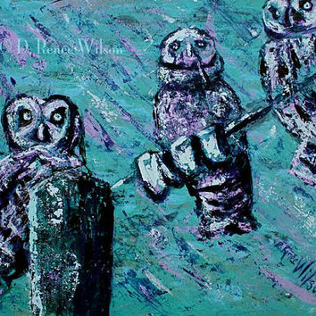 """Original Art Owls Textured Palette Knife Painting, """"Wired"""" by D Renee Wilson"""