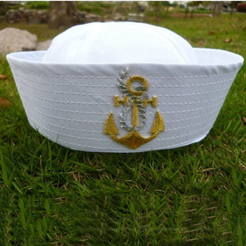 White Sailor Ship Captain Navy Marine Hat Nautical Fancy Dress Cosplay Cap