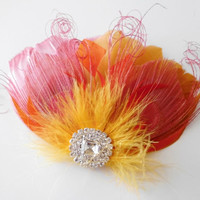 Prom Bridesmaid Feather Hair Accessory, Feather Fascinator, Bridal, Hair PIece, Peacock, Orange, Coral, Pink, Gold, Feather, Hair Clip