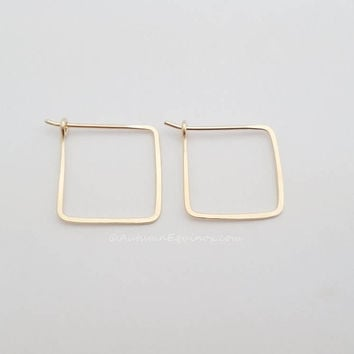 Square Hoop Earrings 14k Gold Filled