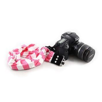 Pink Stripe Scarf Camera Strap - Capturing Couture - CASCARF-STPK