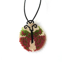 Beaded Butterfly - round medallion necklace & decoration - red and green seed bead jewelry - handmade beadwork - Christmas tree ornament