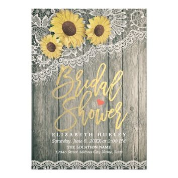 Rustic Wood Vintage Sunflowers Lace Bridal Shower Card