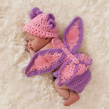 Crochet newborn Baby Hat and Cuddle Critter Set Butterfly Photo Prop
