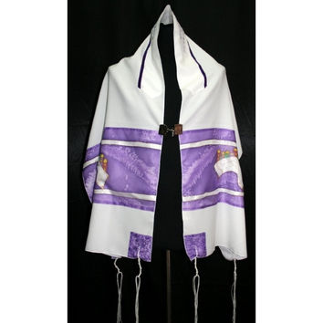 Silk 3 Piece Purple Tallit Set