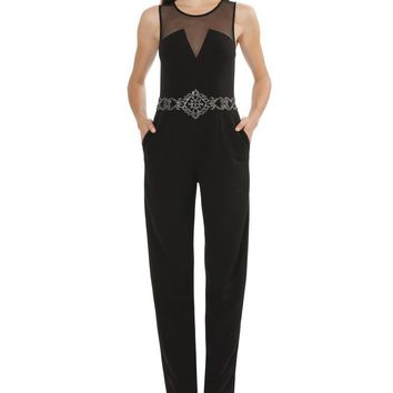 JS Collections - Sleeveless Waist Embellished Jumpsuit 864909