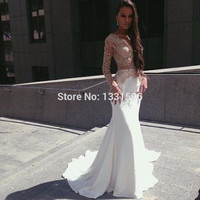 Prom dress 2016 white long prom dress elegant long sleeve mermaid evening dresses vestido de festa