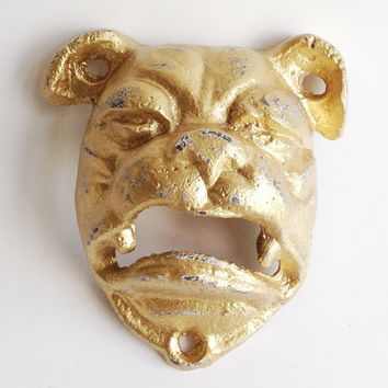 Bulldog Bottle Opener, Gold Dog Bottle Opener, English Bulldog Decor, Wall Mounted Bottle Opener, Cast Iron Beer Opener