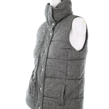 Old Navy womens jacket bubble style vest size XS heathered gray button and zippe