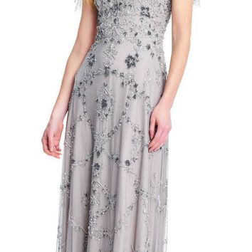 Adrianna Papell - AP1E202882 Floral Beaded Flutter Sleeves A-Line Gown