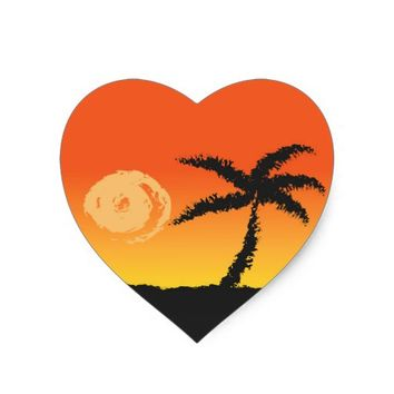 Island Sunset Heart Sticker