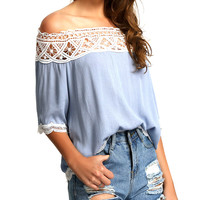 Blusas 2016 Summer Style Womens Boho Blouse Sexy Women Lace Casual Off Shoulder Solid Shirts Slash Neck Tops Plus Size