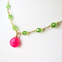 Hot Pink Chalcedony Pink Chalcedony Necklace Fuchsia Swarovski Crystal Jewelry As Seen on TV  Nickelodeon Bella and the Bulldogs Gift Idea